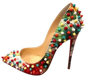 Christian Louboutin Spike Studded Pigalle Follies Hawaii Multi Pumps