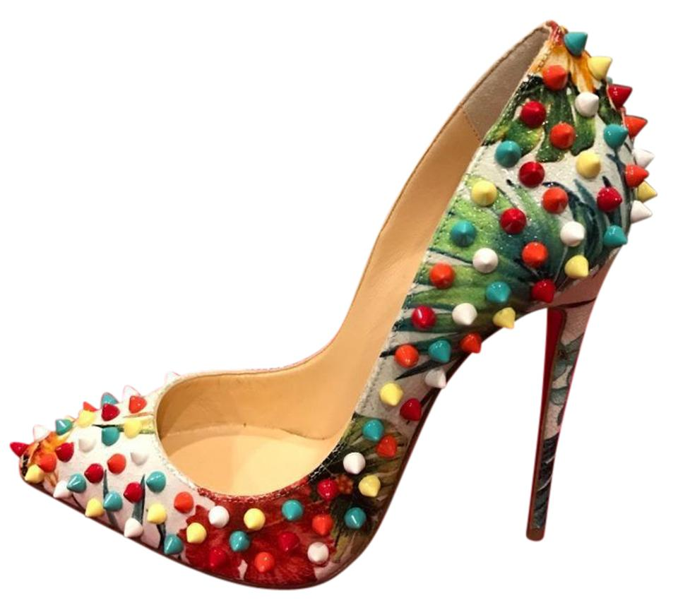 d733701a795 Christian Louboutin Multicolor Follies Spikes 120 Hawaii Floral Studded  Pumps