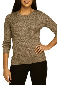 Kim Rogers Cotton Petite Cable Knit Cotton Marled Cotton Sweater