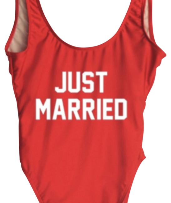 Item - Red Just Married One-piece Bathing Suit Size 8 (M)
