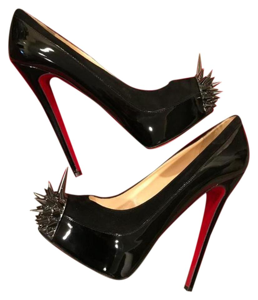 78e7684d5e88 Christian Louboutin Black Asteroid Spikes Patent Leather Suede 39 ...