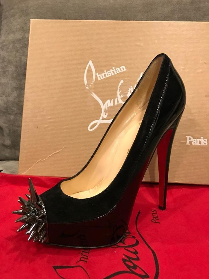 31e5ab19908 Christian Louboutin Black Asteroid Spikes Patent Leather Suede 39 Platform  Heels Pumps Size US 9 39% off retail
