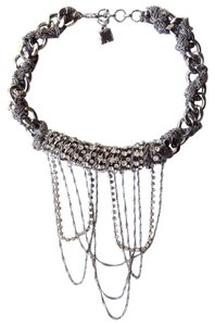BCBGMAXAZRIA chain fringe rhinestone collar necklace