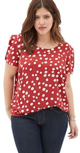 Forever 21 Plus-size Polka Dot Keyhole Casual Top Red