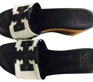 Tory Burch white and black Wedges