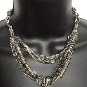 BCBGeneration silver and black chain necklace