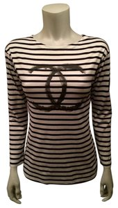 Chanel Striped Cc Logo Sailor Signature T Shirt Black/White