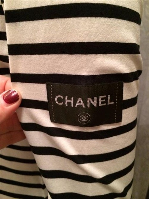 Chanel black white 2008 08a cc logo striped long sleeve for Chanel logo t shirt to buy