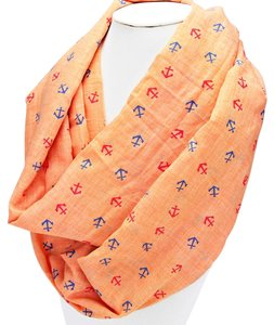 Other Nautical By The Sea Orange Coral Anchors Forever Infinity Scarf