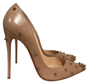 Christian Louboutin Degraspike Gold Spike Stiletto Leather nude Pumps
