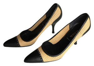 Prada Wedding Opening Day Races Basket Weave Leather Yellow/black Pumps