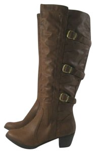 De Blossom Collection Knee High Heeled Tan Boots