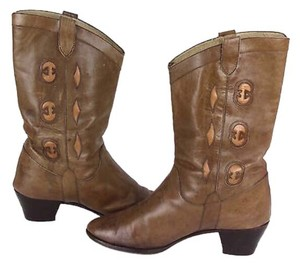 Gucci Vintage Cowboy Boot Leather Tan Boots