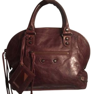 Balenciaga Satchel in like brown with reddish undertones; hard to pinpoint