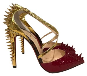 Christian Louboutin Stiletto Spike Goldocross Patent Carmin gold Pumps