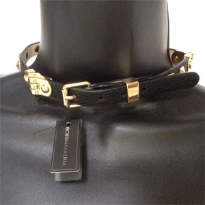 BCBGMAXAZRIA black vegan leather gold studded choker collar necklace