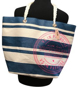 Victoria's Secret blue and white Beach Bag