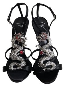 Giuseppe Zanotti black and silver Sandals