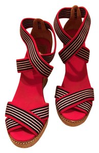 Tory Burch Espadrille Wedge Platform Red and Blue Wedges