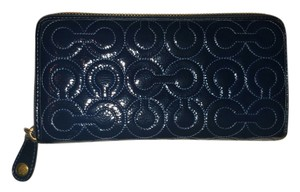 Coach COACH Navy Patent Leather Op Art Ziparound Wallet!