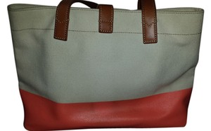 Fossil Coated Leather Leather Tote in Cream and Coral Canvas