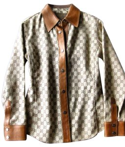 Gucci Shirt Jacket Button Down Shirt Brown