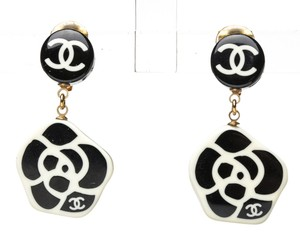 Chanel Chanel Black and White Camelia Drop Clip On Earrings