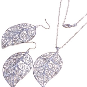 Other Silver Plated Leaf Shaped Jewelry Set