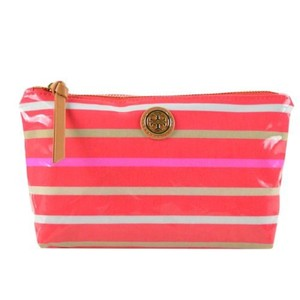 Tory Burch Tory Burch Large Slouchy Cosmetic Poppy Red Multi Stripe