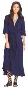Navy Blue Maxi Dress by Free People Fable Embroidered Maxi