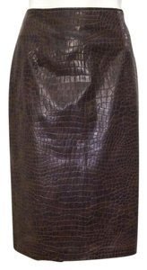 Neiman Marcus Texture Pencil Leather Skirt Brown Faux Alligator