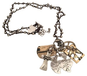 Lucky Brand Long Brown Lucky Brand Charm Necklace with silver and gold