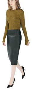 Zara Pencil Pleather Faux Leather Skirt Dark Green