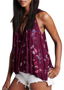 Free People Sheer Lace Floral Racer-back Top Wine