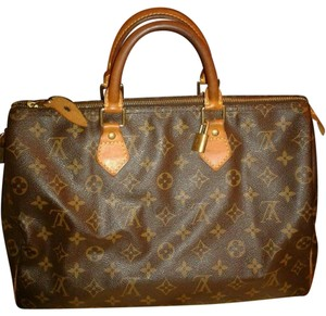 Louis Vuitton Monogram Speedy 35 Leather Canvas Satchel in Brown