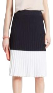 Ann Taylor Pleated Knit Skirt Blue and White