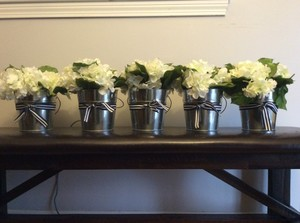 Galvanized Steel Buckets With Silk Hydrangeas.