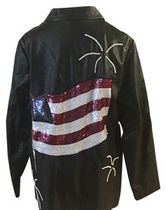 Quacker Factory Black/red/white/blue Leather Jacket
