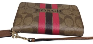 Coach Coach Signature Double Zipper Brown Wallet