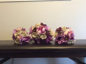 Two Bridesmaid Bouquets And Bride Bouquet - Silk Flowers