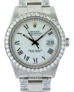 Rolex MEN'S ROLEX DATEJUST S/S 6CT DIAMOND WATCH W/ ROLEX BOX & APPRAISAL