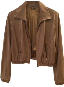 Plein Sud Leather Suede Tan Leather Jacket