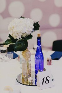 Decorative Blue Wine Bottles With String Lights