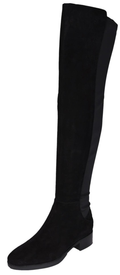 ce8f8ee8b02 Tory Burch Black Caitlin Suede Neoprene Stretch Over The Knee Boots Booties