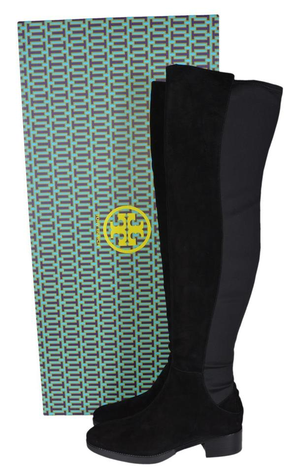 15b5ddac77c Tory Burch Black Caitlin Suede Neoprene Stretch Over The Knee Boots ...
