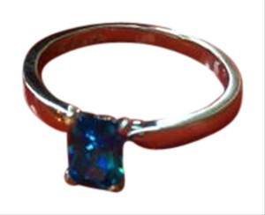 Kingsway Jewelry sterling silver with a genuine high quality radiant blue CZ stone