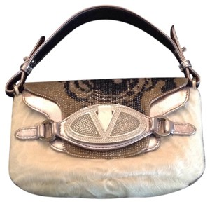 Valentino silver. leather, white fur,, grey and blue/black beading Clutch