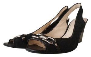 Coach Peep Toe Black Wedges