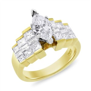 Other 2.54 Carat Natural Diamond Marquise Step Setting Engagement Ring In