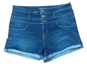 Charlotte Russe High Waisted Blue Three Cuffed Mini/Short Shorts Denim